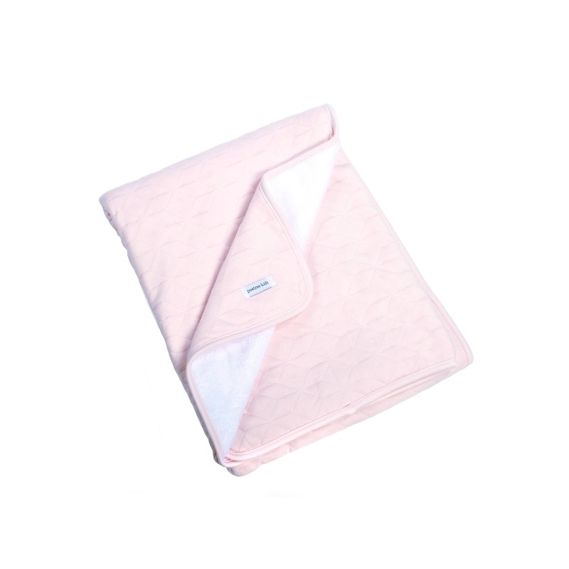 Cot Blanket lined Star Soft Pink-1