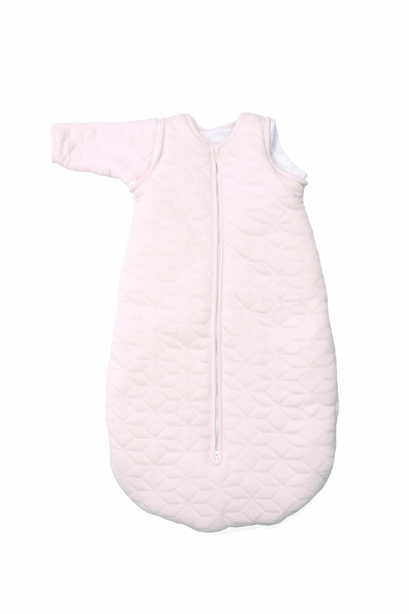 Jersey slaapzak 90cm met afritsbare mouwen Star Soft Pink-2