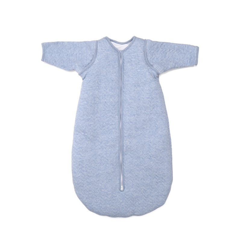 Jersey slaapzak 90cm met afritsbare mouwen Chevron Denim Blue-1