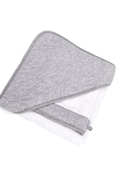 Hooded towel & washcloth Star grey melange