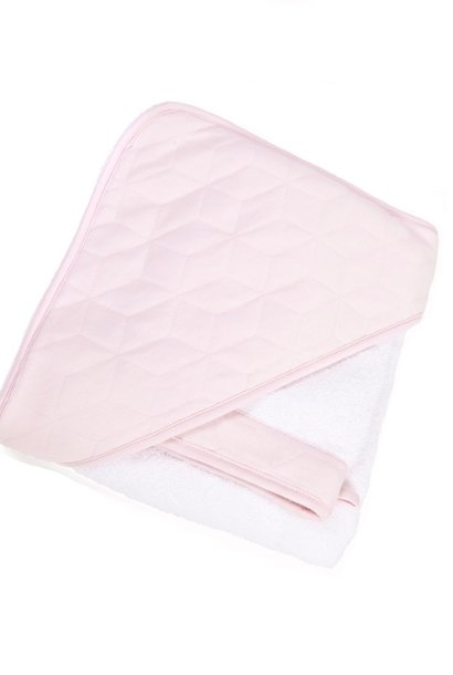 Hooded towel & washcloth Star soft pink