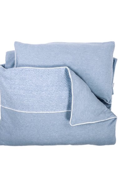 Duvet Cover & Pillow case Chevron Denim Blue