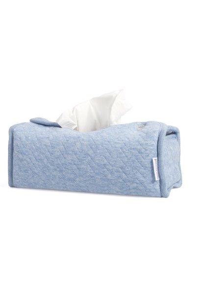 Housse boîte à mouchoirs Chevron Denim Blue