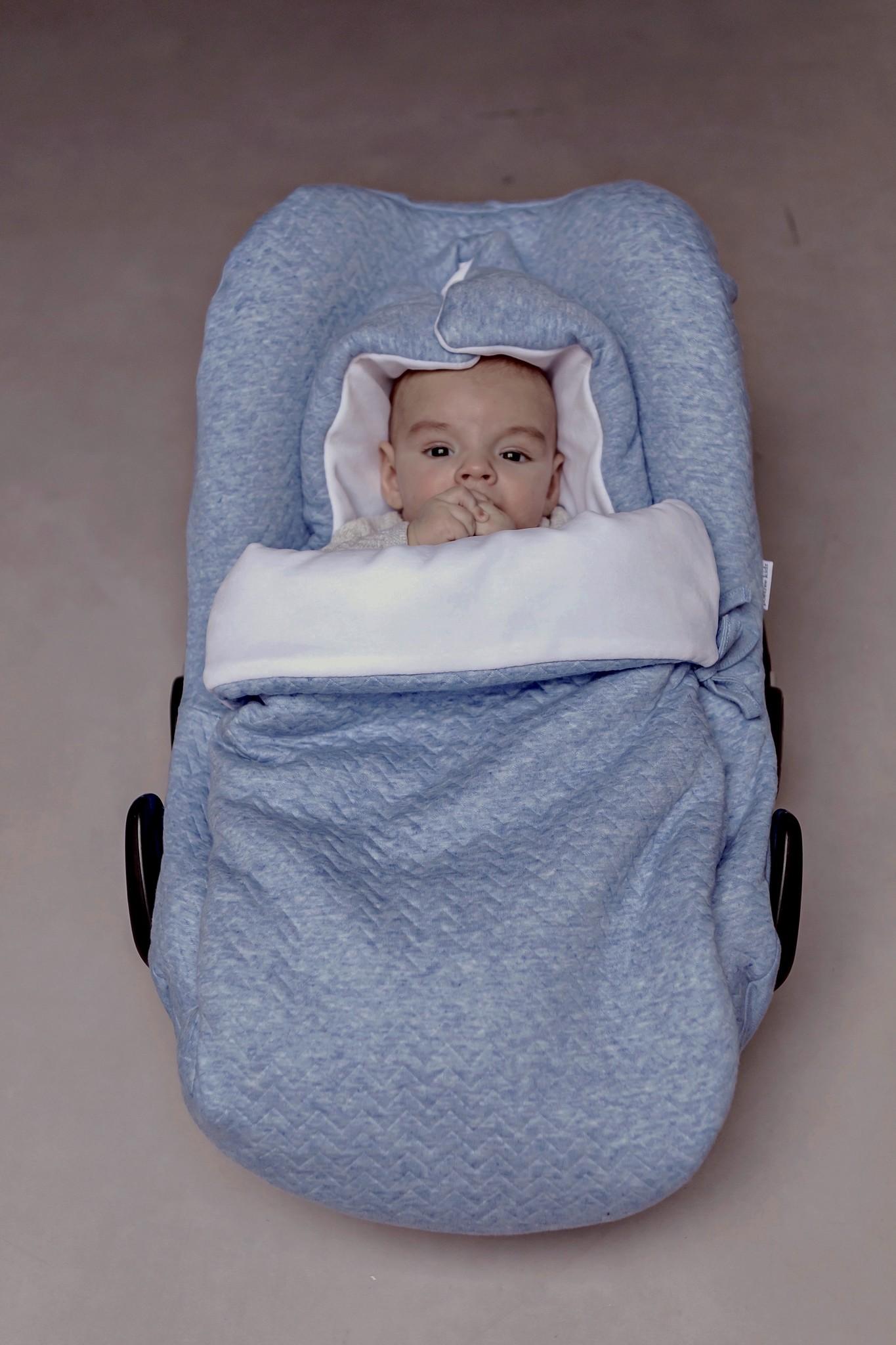 Nid d'ange bébé 5 points Chevron Denim Blue-8