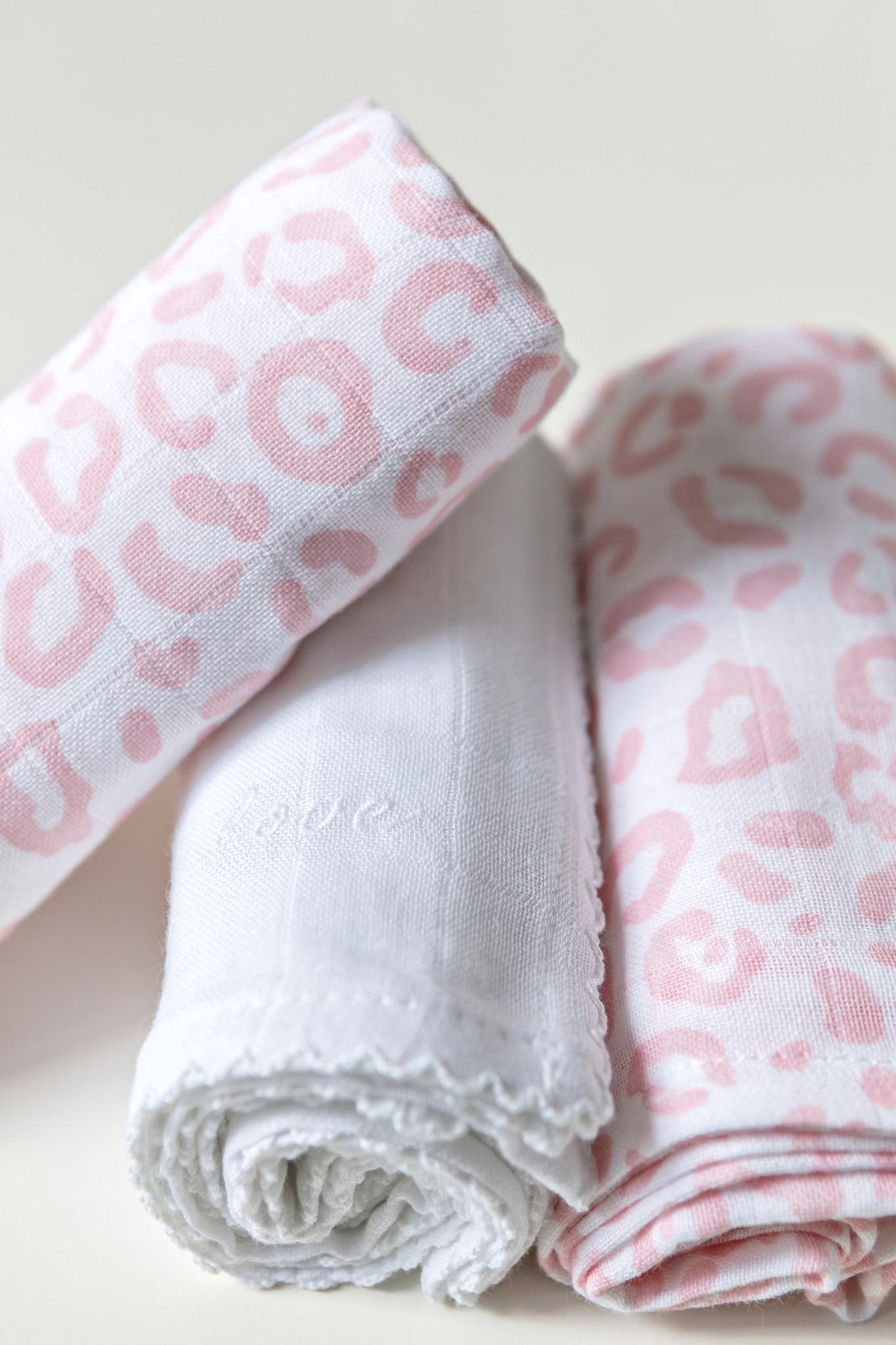 3 Hydrophilic cloths  Leopard print Pink-2