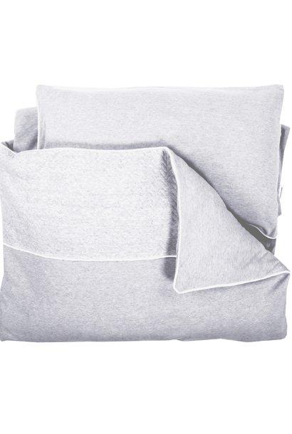 Duvet Cover & Pillow case Chevron Light Grey Melange