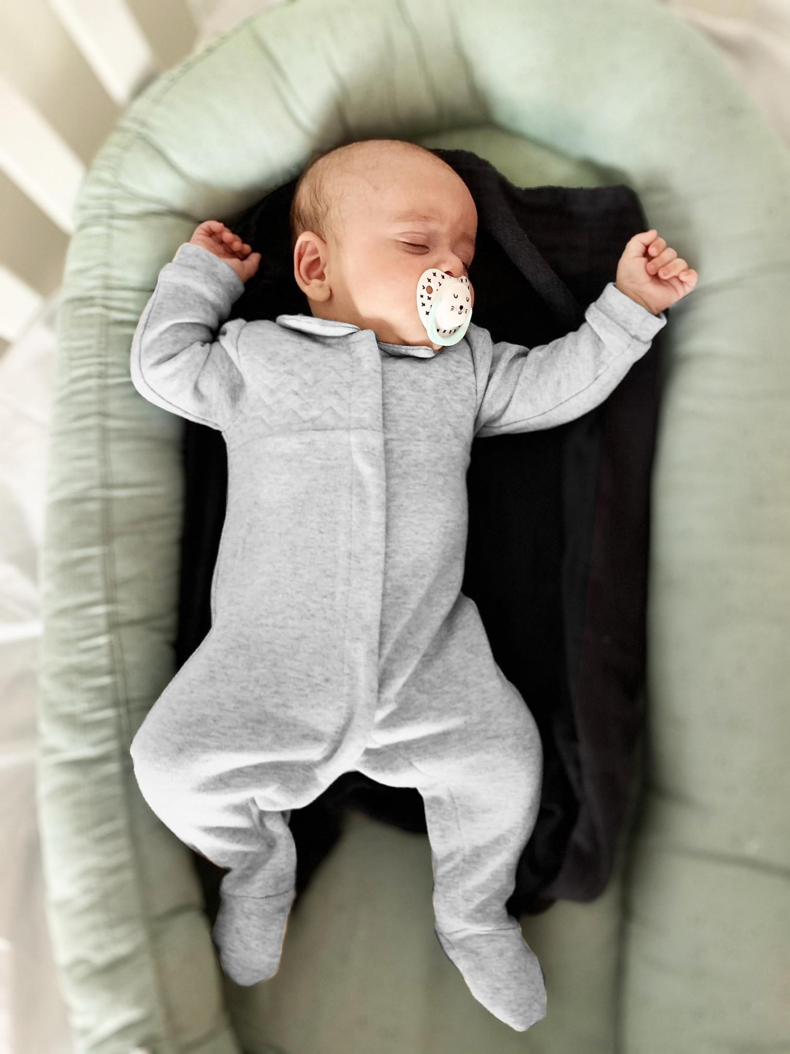 Baby Suit Chevron Light Grey Melange-2