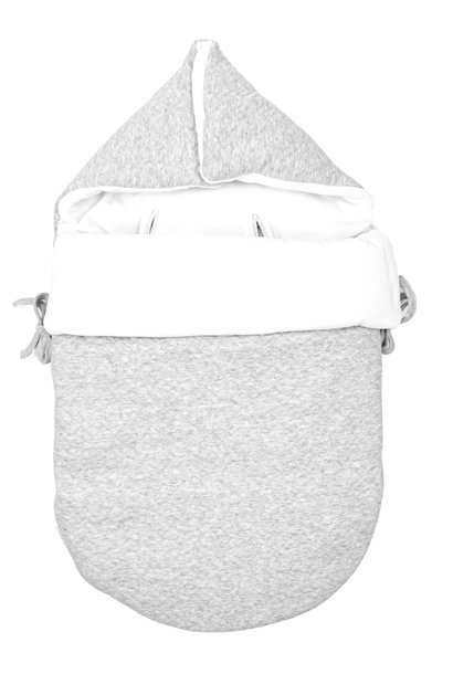Baby footmuff 5 point belt Chevron Light Grey Melange