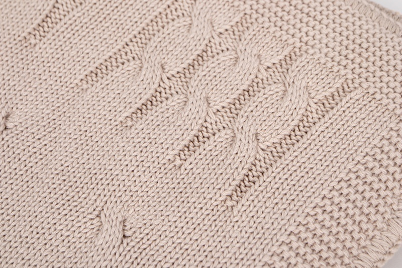Knitted Baby Crib Blanked lined with fleece Light Camel-3