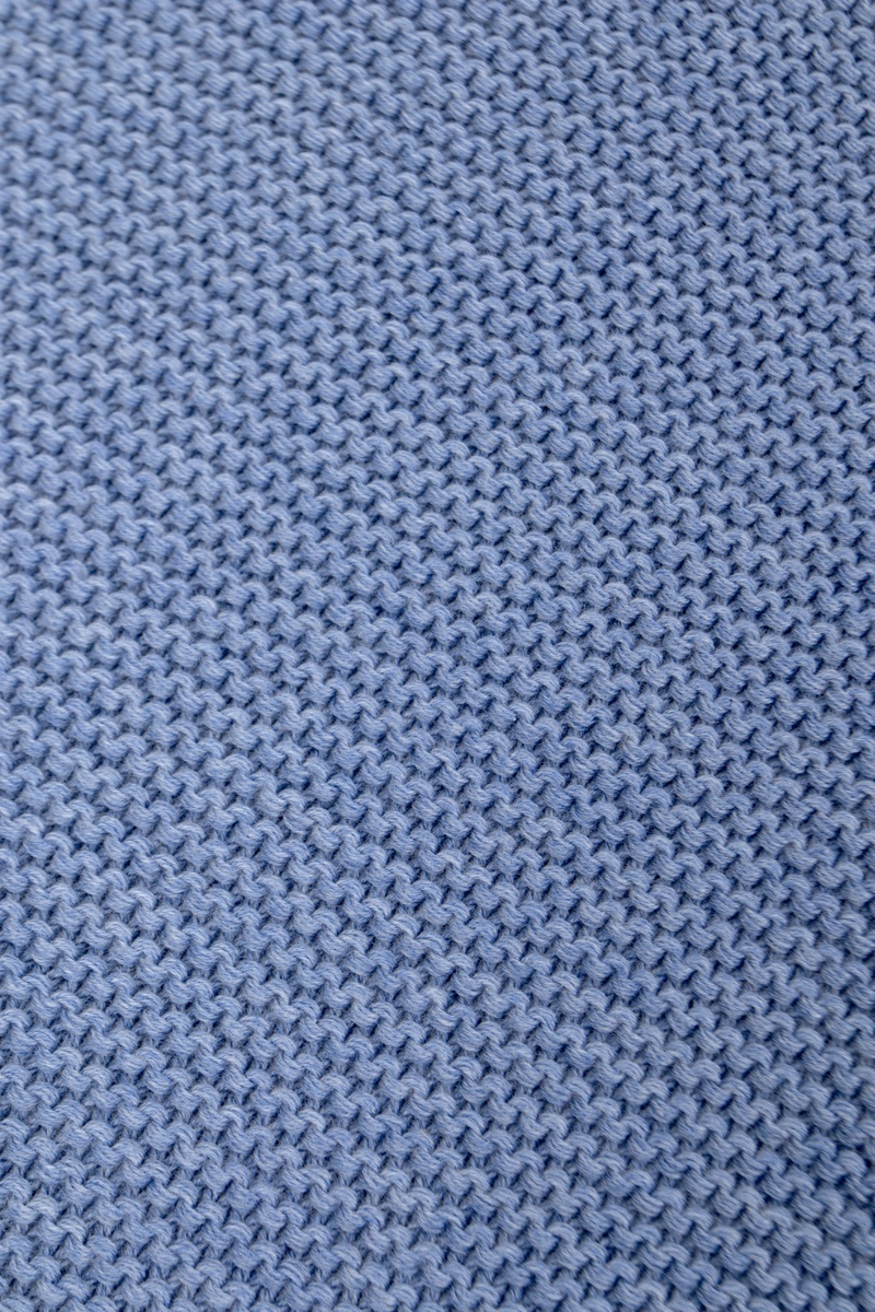 Knitted Baby Crib Blanked lined with fleece Denim Blue-3