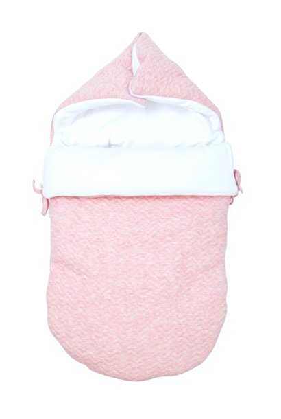 Baby footmuff 5 point belt Chevron Pink Melange