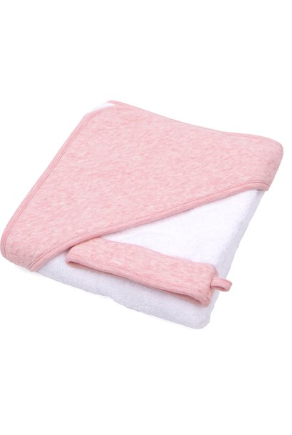 Hooded towel & washcloth Chevron Pink Melange