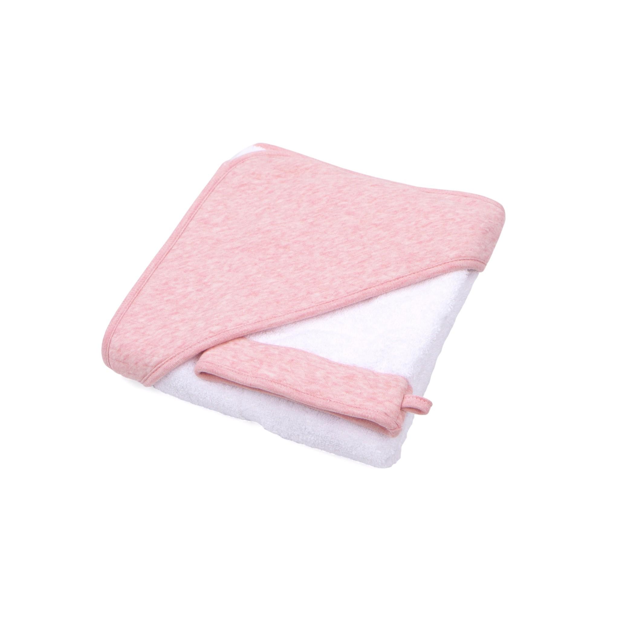 Hooded towel & washcloth Chevron Pink Melange-1