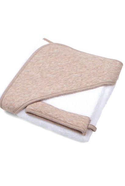 Hooded towel & washcloth Chevron Light Camel