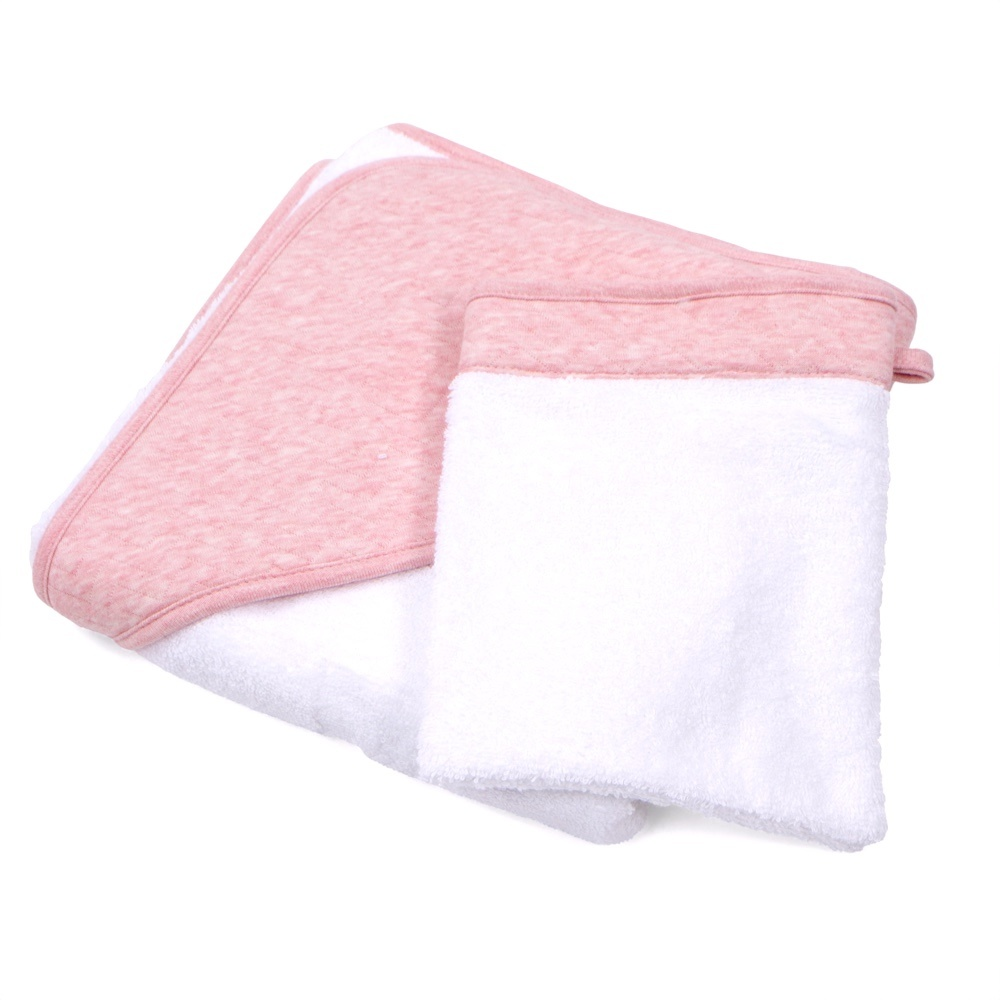 Hooded towel & washcloth Chevron Pink Melange-4
