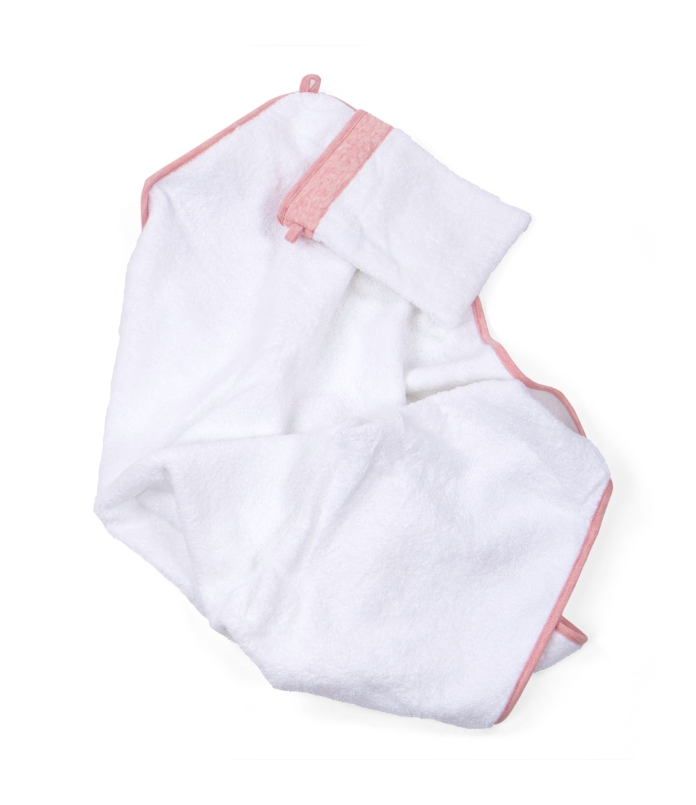 Hooded towel & washcloth Chevron Pink Melange-3
