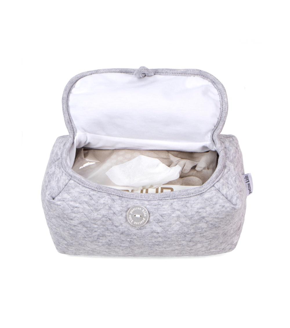 Housse de lingettes pour bébé Chevron Light Grey Melange-2