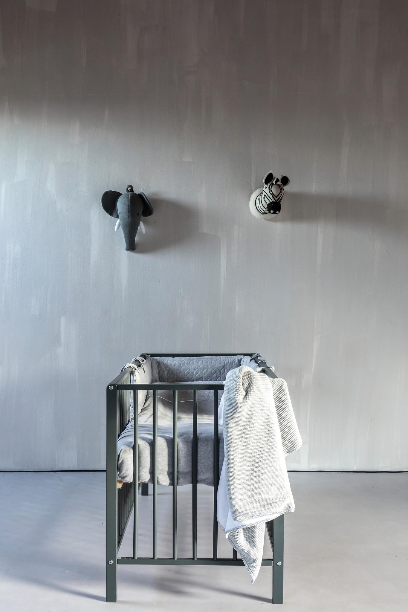 Ledikant deken gevoerd met zachte glans Light Grey Melange-2