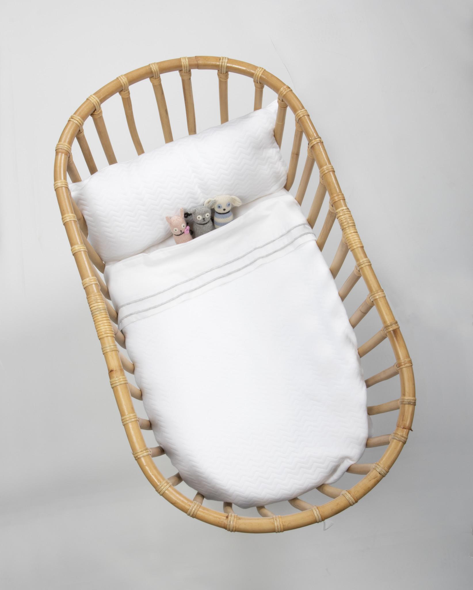 Crib blanket lined Chevron White-3
