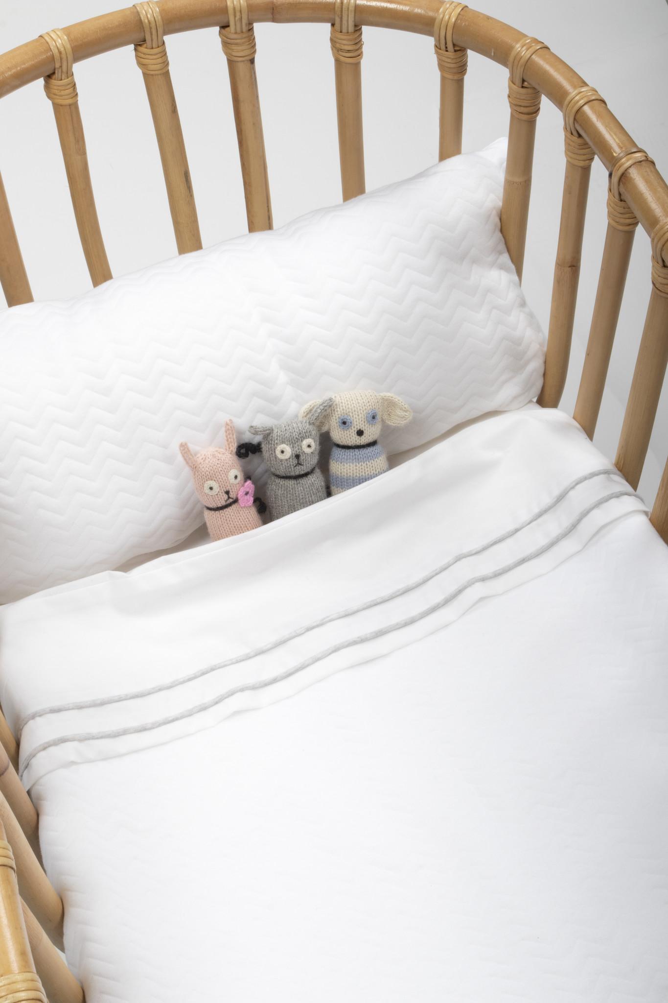 Crib blanket lined Chevron White-2