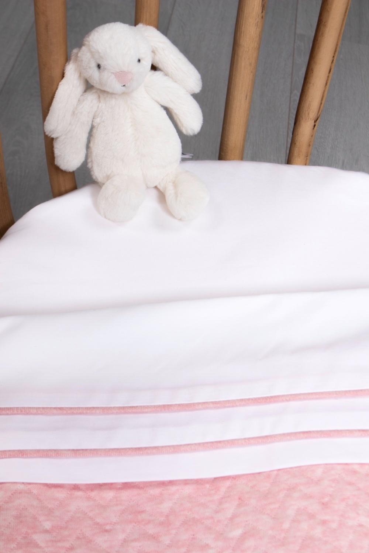 Cot / baby bed sheet Chevron Pink Melange-2