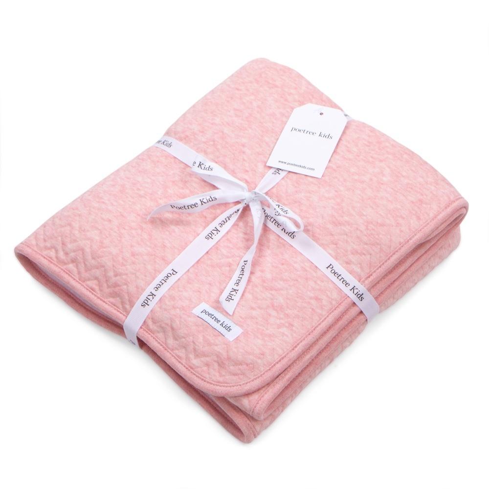 Cot Blanket lined Chevron Pink Melange-3
