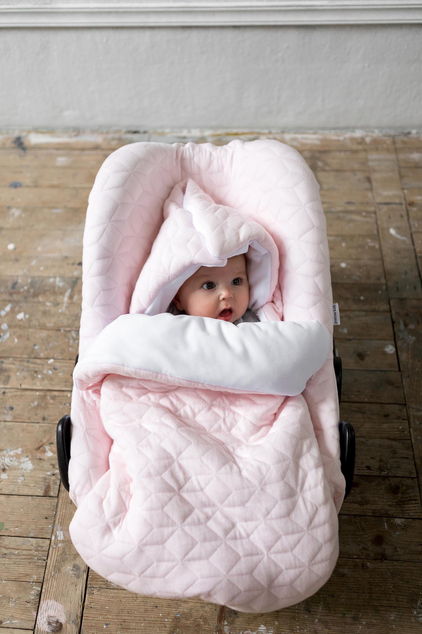 Baby footmuff 5 point belt Star Soft Pink-10