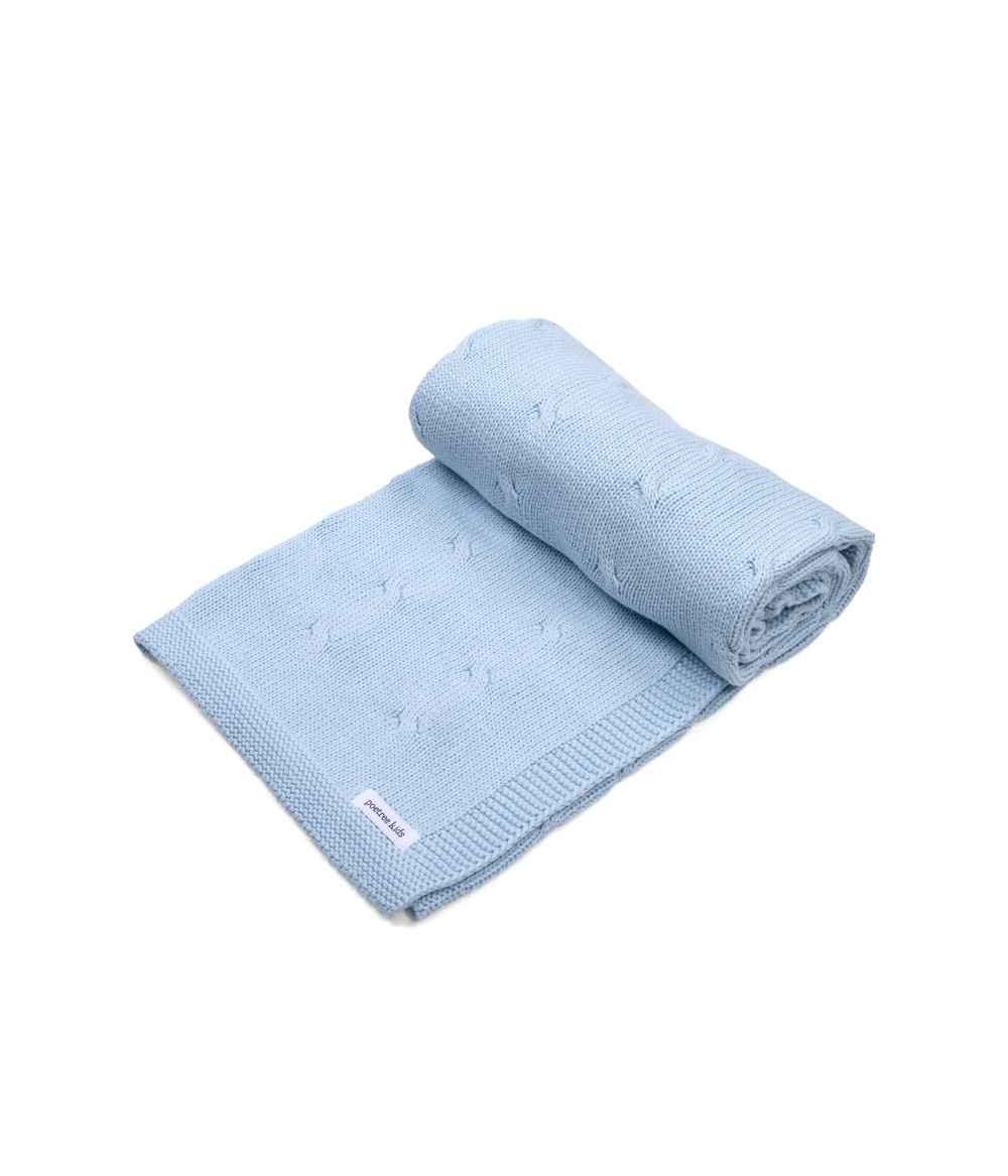 100% Cotton Knitted Baby Crib Blanket  Light Blue-1