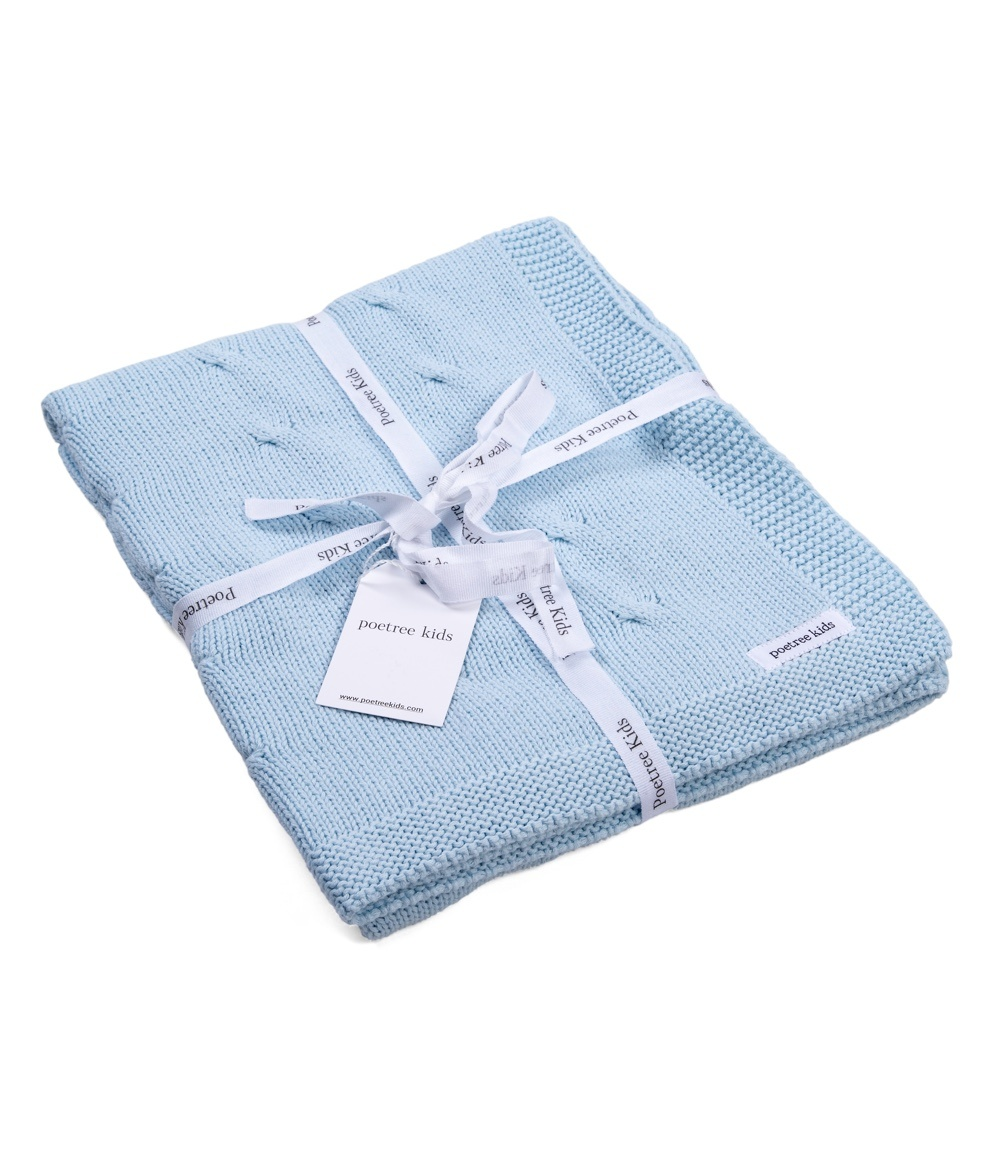 100% Cotton Knitted Baby Crib Blanket  Light Blue-3