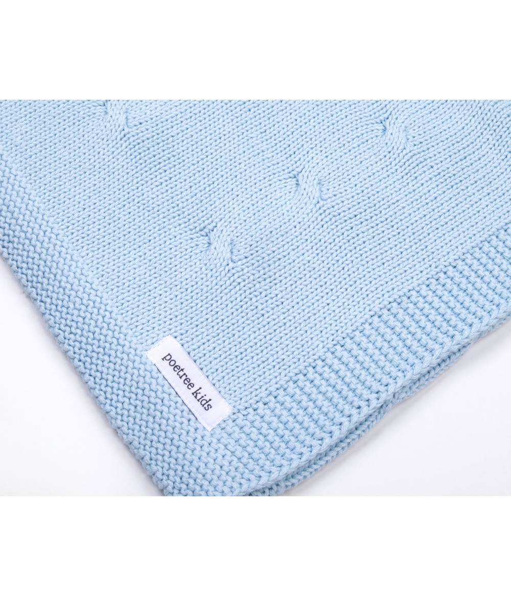 100% Cotton Knitted Baby Crib Blanket  Light Blue-2