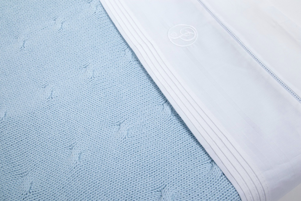 100% Cotton Knitted Baby Crib Blanket  Light Blue-4