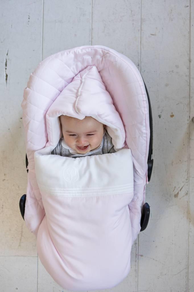 Baby footmuff 5 point belt Oxford Soft Pink-5