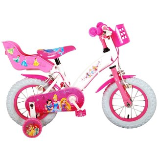 Disney Princess meisjesfiets 12 inch Wit Roze - Twee handremmen