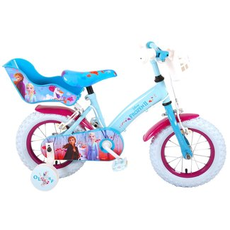 Disney Frozen 2 meisjesfiets 12 inch blauw/paars 2 Handremmen