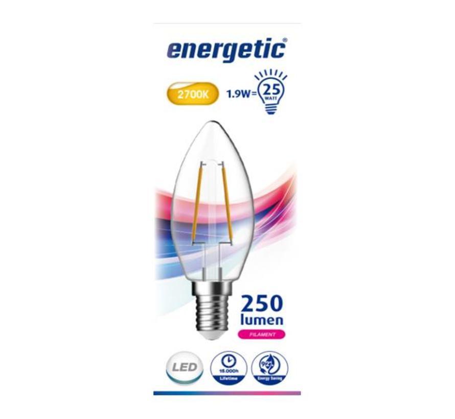 E14 Energetic Kaars Filament LED Lamp - 2.3W - Vervangt 25W