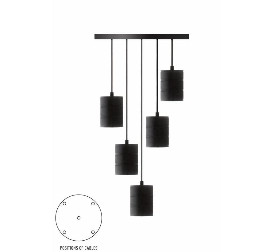 Calex Giant Multi Cord Set - 5 x E40 - Zwart