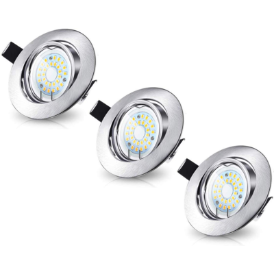LED Inbouwspots Murillo 3 Pack 3,3W - RVS look