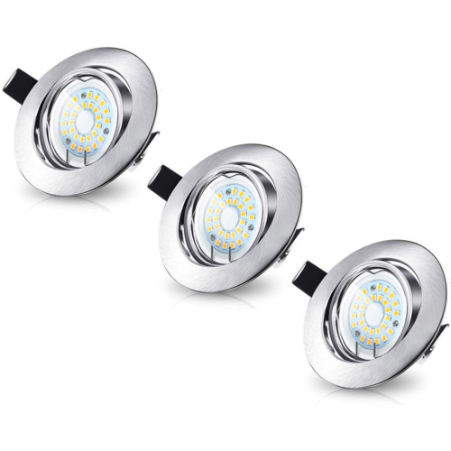 Lightexpert LED Inbouwspots Murillo 3 Pack 3,3W - RVS look