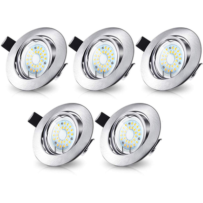 LED Inbouwspots Murillo 5 Pack - 5W - RVS look