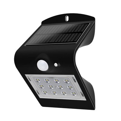 Solar Wandlamp Sensor - 1,5W - 4000K - 220 Lumen - Zwart
