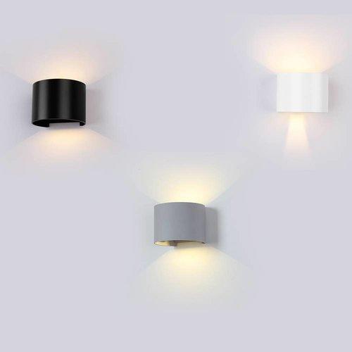 Lightexpert.nl LED Wandlamp Buiten Rond Zwart - Tweezijdig - 3000K -  6W