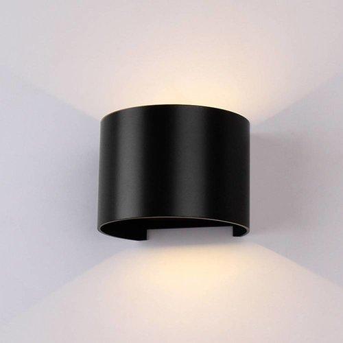 Lightexpert LED Wandlamp Buiten Rond Zwart - Tweezijdig - 3000K -  6W