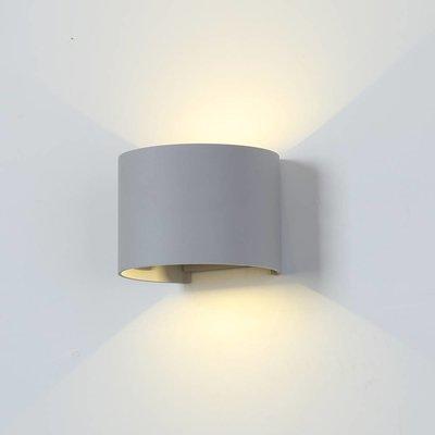 LED Wandlamp Buiten Rond Grijs - Tweezijdig - 3000K - 6W