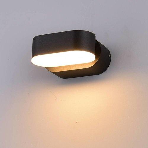Lightexpert LED Wandlamp Buiten Ovaal Zwart - Kantelbaar - 3000K - 6W