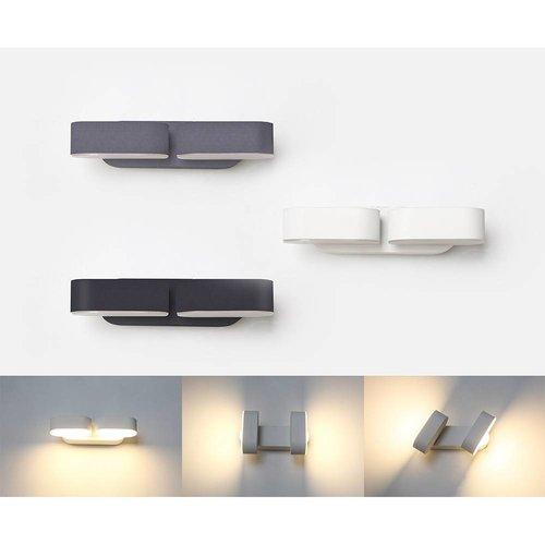 Lightexpert LED Wandlamp Buiten kantelbaar Zwart - Dubbel - 3000K - 12W