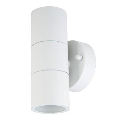 Wandlamp buiten Cilinder Wit - Tweezijdig - Excl. Spot