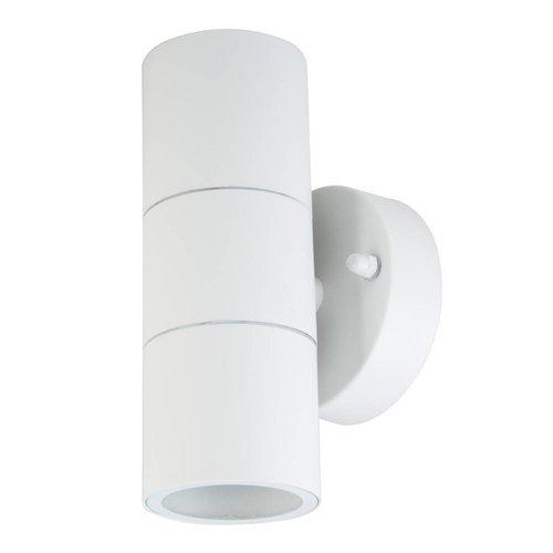 Lightexpert.nl Wandlamp buiten Cilinder Wit - Tweezijdig - Excl. Spot