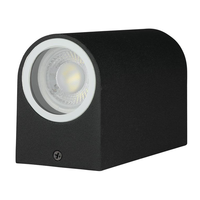 Lightexpert.nl Wandlamp buiten halve Cilinder Zwart - Tweezijdig - Excl. Spot