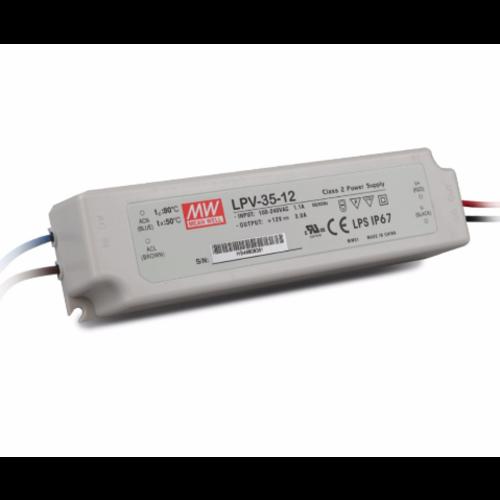 Meanwell Meanwell LED Transformator 36 Watt - LPV-35-12 - IP67 - Niet Dimbaar