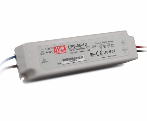 Meanwell LED Transformator 36 Watt - LPV-35-12 - IP67 - Niet Dimbaar